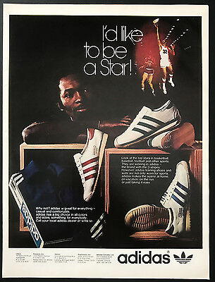 1973 Vintage Print Ad 1970s ADIDAS Shoes Basketball Star Dreams Athletic Foot