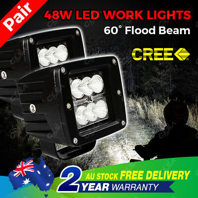 NEW Pair CREE 48W Flood Beam LED Work Light Offroad Lamp Truck Boat Driving Fog