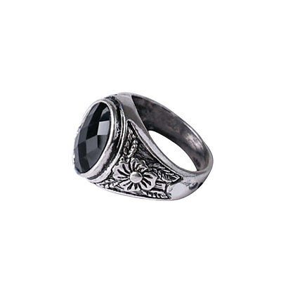 Men's Black Onyx Silver Stainless Steel Finger Ring Punk Jewelry Hot Fashion