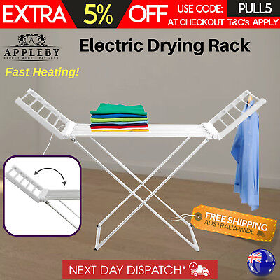230W Portable Electric Clothes Dryer Heated Towel Rail Airer Hanger Laundry Rack