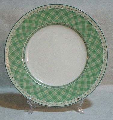 "Fitz and Floyd Monterey Green Plaid Lunch Salad Plate 9 1/4""  SOLD EACH Luncheon"