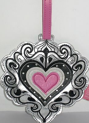 GORGEOUS LUGGAGE BAG TAG for SUITCASE with ADDRESS LABEL- SILVER & BLACK HEART