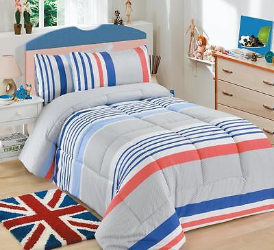 Blue Striped  3 Pc Quilted Comforter Set Winter Warm Bedding - Single bed Size