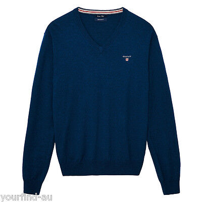 New with tags GANT Cotton Wool Blend V Neck Sweater Jumper Knit - Blue