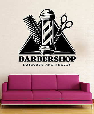 Wall Vinyl Decal Barbershop Professional Service Haircuts and Shave Decor z4815