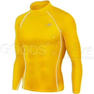 Mens Boys Yellow Compression Long Sleeve Body Armour Base Layer Top Skins AFL