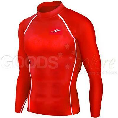 Mens Boys Red Compression Long Sleeve Body Armour Base Layer Top Skins AFL