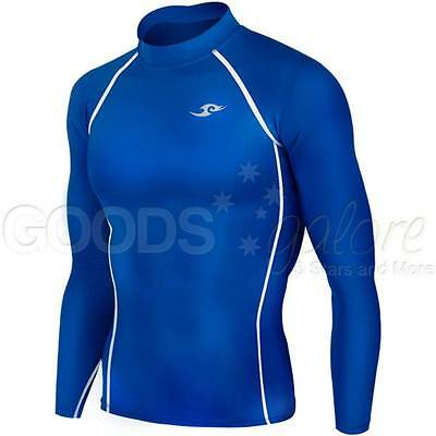 Mens Boys Blue Compression Long Sleeve Body Armour Base Layer Top Skins AFL