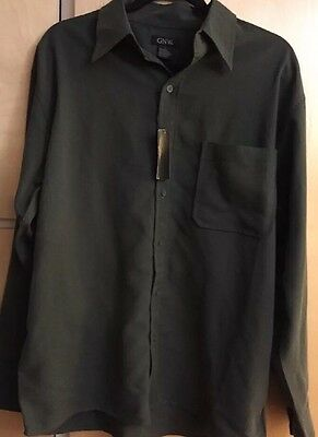 New GNW MEN'S Dark Olive Green Long Sleeve Button Down Size Large NWT