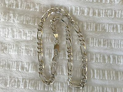 Solid Sterling Silver Figaro Link CHAIN Necklace..28 grams..Quality Piece...