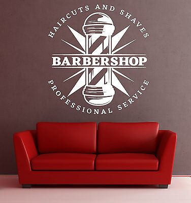 Wall Vinyl Decal Haircut Shaves Professional Service Barbershop Decor z4817