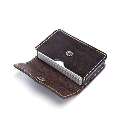 Teemzone Real Leather ID Credit Card Business Holder Front Pocket Button Wallet