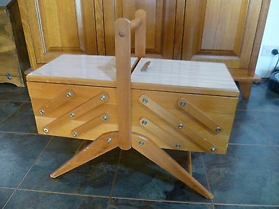 Vintage Cantilever Sewing Box 3 Tier Wood Laminate Australian Made Craft Large
