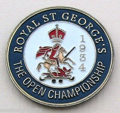 """1934 Open Championship Golf Ball Marker 1"""" Coin - Royal St George's Golf Club"""
