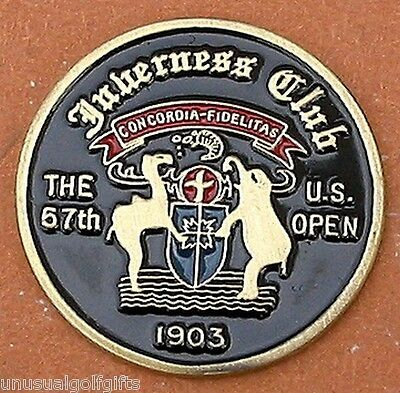 "Us Open 1957 Golf Design 1"" Painted Coin Golf Ball Marker - Inverness Club"