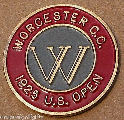 """Us Open 1925 Golf Design 1"""" Coin Golf Ball Marker  Worcester Country Club"""
