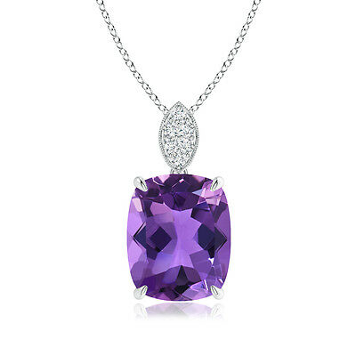 Cushion Amethyst With Diamond Solitaire Pendant Necklace 14K White Gold Platinum