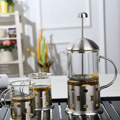 3/8 Cups Stainless Steel Glass Cafetiere French Filter Coffee Press Plunger New