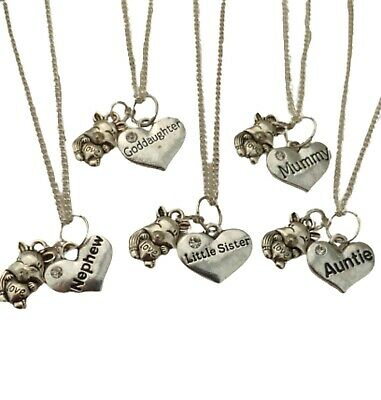 SILVER NECKLACE Cute Squirrel Family Charm Pendant Birthday Gift