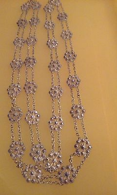 "MUST S@@! Antique 800 Silver Open Metal Work FILIGREE 36 1/2"" LONG DOUBLE CHAIN"