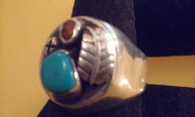 VINTAGE MENS LARGE/HEAVY STERLING w/ TURQUOISE /CORAL NAVAJO RING SANCHEZ 12.5