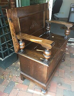 A Good Antique Carved Oak Monks Bench Or Hall Box Settle Lacons Brewery