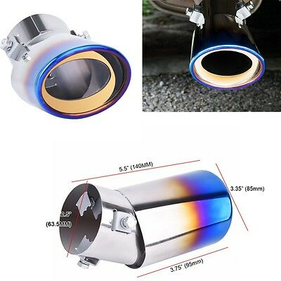 New Stainless Steel Oval Round Exhaust Rear Tip Tail Muffler Pipe With Screw