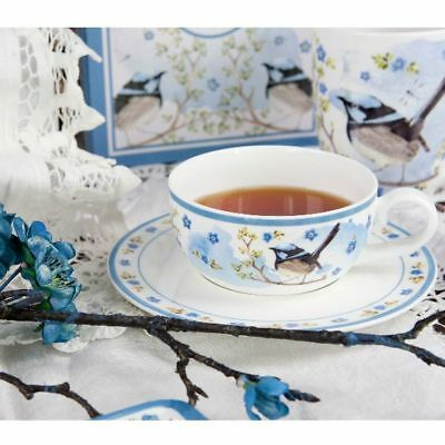 Blue Wren Tea Cup and Saucer Plume and Perch Collection by Ashdene. Bone chin...