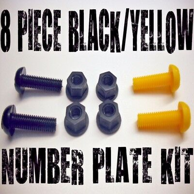 Motorcycle Number Plate Bolts Nuts Caps Screws Yellow Black 8 P