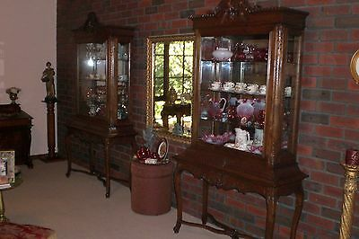Pair Of French Provincial Antique Style Display Cabinets