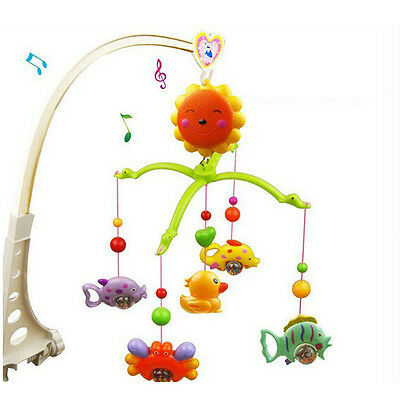 Baby Hand Bed Crib Musical Hanging Rotate Bell Ring Rattle Mobile Toy NEW