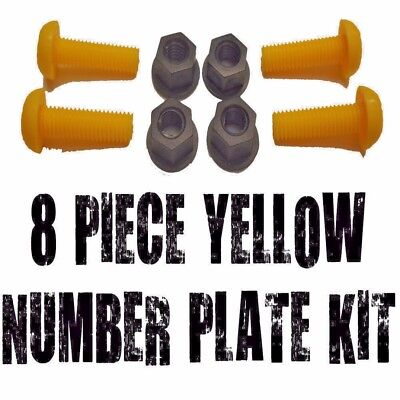 8 Piece Yellow Number Plate Bolts & Nuts - 4 Screws & 4 Nuts For Bikes Or Cars