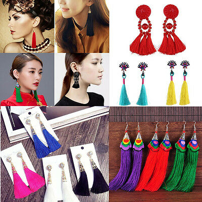 Bohemian Earrings Women Vintage Long Tassel Fringe Crystal Boho Dangle Earrings