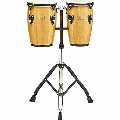 Tycoon Percussion TCJ-BN/D Natural Finish Junior Congas with Double Stand