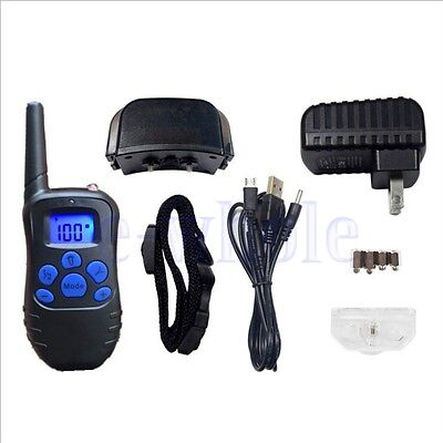 Waterproof Rechargeable Remote LCD 100LV Electric Dog Training Shock Collar HM