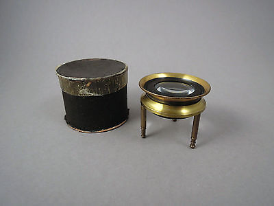 Antique brass tripod stand magnifier magnifying glass 19th century Victorian era