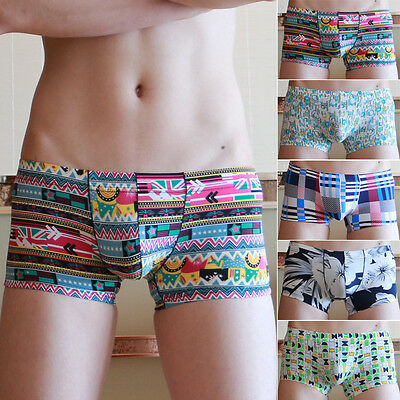 Men Printed Soft Bulge Pouch Seamless Underwear Boxers Shorts Trunks Briefs S-XL