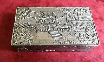 SMALL CHINESE METAL BOX with HINGED LID