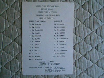 Aston Villa Res V Everton Res Central League Single Sheet Programme 1985