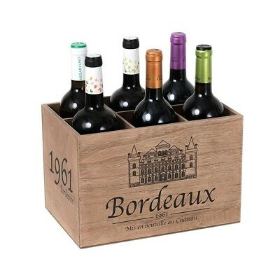 Balvi - Bordeaux 1961 wooden wine rack. With vintage style. Capacity: 6 bottles