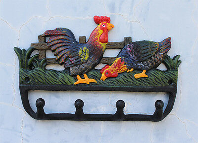 CAST IRON Rooster Coat Hat Towel Hooks Key Rack Hanger Farm Cork Hen Ornament