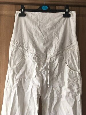 H&M Maternity White Linen Trousers Over Bump Size 12