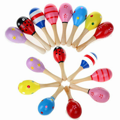 2pcs Wooden Maraca Rattles Kid Musical Instrument Party Favour Baby Shaker Toy