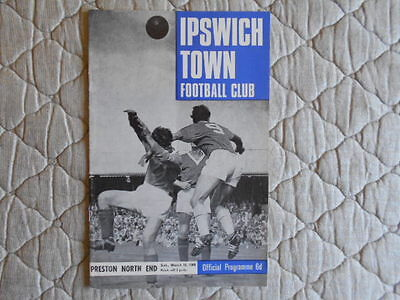 Ipswich Town V Preston Second Division Match Programme March 1968