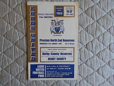 Leeds Utd Res V Preston Res Central League Match Programme January 1968