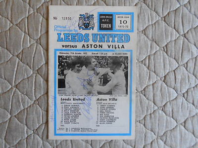 Leeds V Aston Villa Fl Cup 3Rd Round Replay Prog Signed By 4 Leeds Players 1972