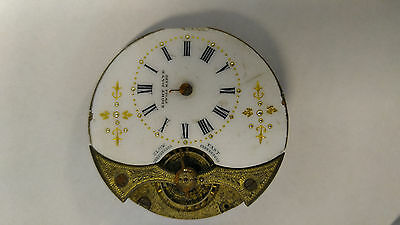 Vintage Hebdomas 8 Day Pocket Watch Movement & Dial For Parts Or Repair