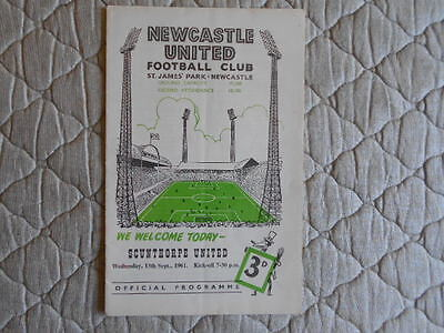 Newcastle Utd V Scunthorpe League Cup 1St Round Match Programme 1961