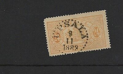 1872 Sweden SG 23a 24 Ore Yellow Used 1882 CDS