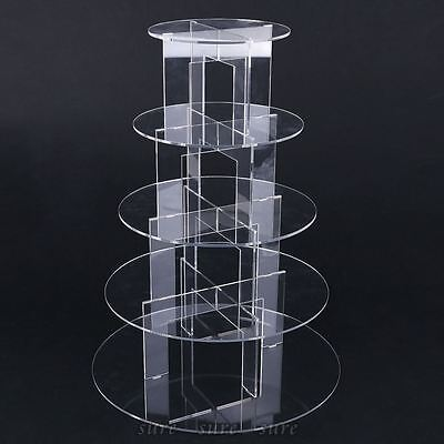 5 Tier Level Round Cupcake Stand Dessert Tower Clear Acrylic Display Cake Stand